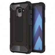 Custodia per Samsung A8 2018 Hybrid Armour TPU+PC Cover robusta e resistente Colore Nero
