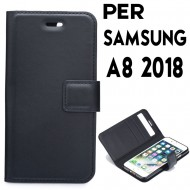 Custodia per Samsung A8 2018 FORCELL Flexi Book Ecopelle Astuccio Cover Guscio Libro