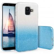 Cover custodia per Samsung A8 2018 in TPU Back Case BLINK Brillantini GLITTER Argento e Blu