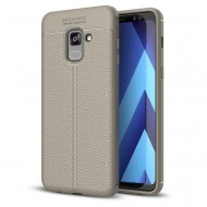 Custodia per Samsung A8 2018 Cover tpu paraurti modello Litchi pattern Grigio