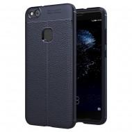 Custodia per Huawei P10 Lite Cover tpu paraurti modello Litchi pattern Blu