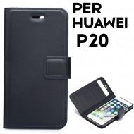 Custodia Flexi Book per Huawei P20 a libro - portafoglio chiusura magnetica cover tpu colore Nero