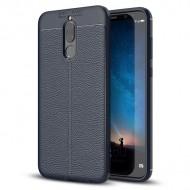 Custodia per Huawei Mate 10 Lite Cover tpu paraurti modello Litchi pattern Blu