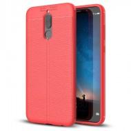 Custodia per Huawei Mate 10 Lite Cover tpu paraurti modello Litchi pattern Rosso
