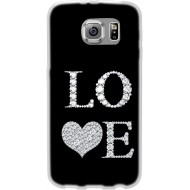 Cover Back case in silicone per samsung  S4 (I9500) nera con scritta LOVE
