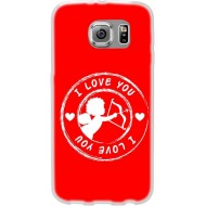 Cover Back case in silicone per samsung J7 (J700) con cupido ( i love you )