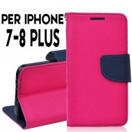 custodia per Iphone 7-8 Plus cover tpu libro portafoglio chiusura magnetica Rosa-Blu