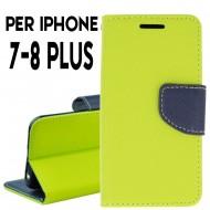 custodia per Iphone 7-8 Plus cover tpu libro portafoglio chiusura magnetica Lime-Blu