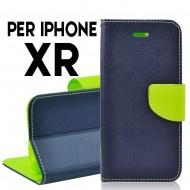 custodia per iphone XR cover tpu libro portafoglio chiusura magnetica Blu-Lime