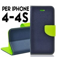 Custodia cover Per Iphone 4 cover slim luxury a libro-portafoglio stand case interno in tpu Blu-Lime