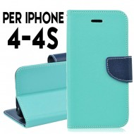 Custodia cover Per Iphone 4 cover slim luxury a libro-portafoglio stand case interno in tpu Verde-Blu