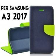 Custodia cover Per Samsung A3 2017 Blu-Lime ,slim luxury a libro/portafoglio stand case interno in tpu