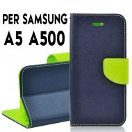 Custodia cover Per Samsung A5 A500 Blu-Lime ,slim luxury a libro/portafoglio stand case interno in tpu