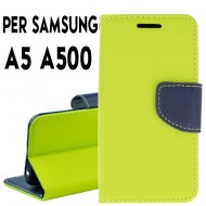 Custodia cover Per Samsung A5 A500 Lime-Blu,slim luxury a libro/portafoglio stand case interno in tpu