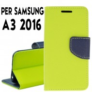 Custodia cover Per Samsung  A3 2016 Lime-Blu ,slim luxury a libro-portafoglio stand case interno in tpu