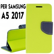 Custodia cover Per Samsung A5 2017 (A520) Lime-Blu ,slim luxury a libro/portafoglio stand case interno in tpu