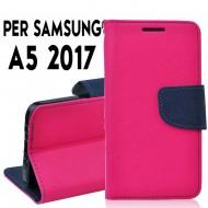 Custodia cover Per Samsung A5 2017 (A520) Rosa-Blu ,slim luxury a libro/portafoglio stand case interno in tpu