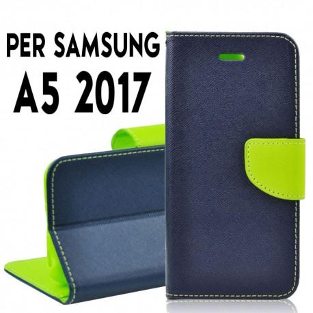 Custodia cover Per Samsung A5 2017 (A520) Blu-Verde, slim luxury a libro/portafoglio stand case interno in tpu