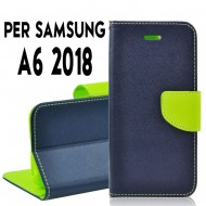 Custodia cover Per Samsung A6 2018 Blu-Lime, slim luxury a libro/portafoglio stand case interno in tpu
