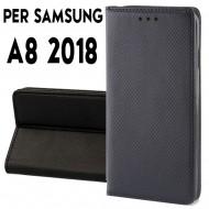Custodia per Samsung A8 2018 a libro - portafoglio chiusura magnetica cover tpu colore Nero