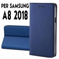 Custodia per Samsung A8 2018 a libro - portafoglio chiusura magnetica cover tpu colore Blu
