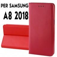 Custodia per Samsung A8 2018 a libro - portafoglio chiusura magnetica cover tpu colore Rosso