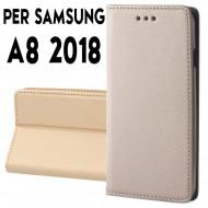 Custodia per Samsung A8 2018 a libro - portafoglio chiusura magnetica cover tpu colore Oro