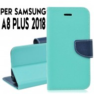 Custodia cover Per Samsung A8 PLUS 2018 Verde-Blu ,slim luxury a libro/portafoglio stand case interno in tpu
