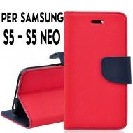 Custodia cover Per Samsung S5 Rosso-Blu ,a libro/portafoglio interno in tpu