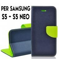Custodia cover Per Samsung S5 Blu-Lime ,a libro/portafoglio interno in tpu