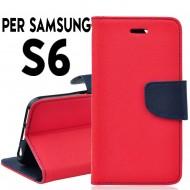 Custodia per Samsung S6 cover slim luxury a libro/portafoglio  stand case interno in tpu Rosso / Blu interno