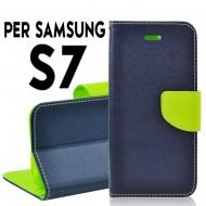 Custodia cover Per Samsung S7 Blu-Lime ,slim luxury a libro-portafoglio stand case interno in tpu