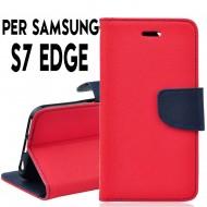 Custodia per Samsung S7 Edge cover slim luxury a libro/portafoglio  stand case interno in tpu Rosso / Blu interno