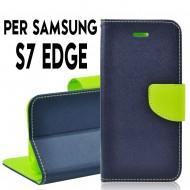 Custodia per Samsung S7 Edge cover slim luxury a libro/portafoglio  stand case interno in tpu Blu/Verde interno