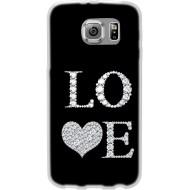 Cover Back case in silicone per samsung  S7 (G930) nera con scritta LOVE