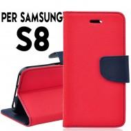 Custodia cover Per Samsung S8 Rosso-Blu a libro/portafoglio stand case interno in tpu