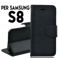Custodia cover Per Samsung S8 Nero a libro/portafoglio stand case interno in tpu