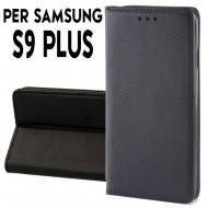 Custodia per Samsung S9 Plus a libro - portafoglio chiusura magnetica cover tpu colore Nero