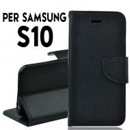 Custodia cover Per Samsung S10 Nero a libro/portafoglio stand case interno in tpu