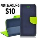 Custodia cover Per Samsung S10 Blu-Lime a libro-portafoglio stand case interno in tpu