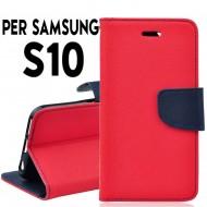 Custodia cover Per Samsung S10 Rosso-Blu a libro/portafoglio stand case interno in tpu