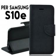 Custodia cover Per Samsung S10E Nero a libro/portafoglio stand case interno in tpu