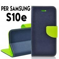 Custodia cover Per Samsung S10E Blu-Lime a libro/portafoglio stand case interno in tpu