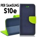 Custodia cover Per Samsung S10E Blu-Lime a libro-portafoglio stand case interno in tpu