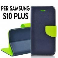 Custodia cover Per Samsung S10 Plus Blu-Lime a libro/portafoglio stand case interno in tpu