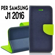 Custodia cover Per Samsung J1 2016 (J120F) Blu/Lime,slim luxury a libro/portafoglio stand case interno in tpu