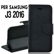 Custodia Per Samsung J3 2016 cover slim luxury a libro/portafoglio stand case interno in tpu , Nero