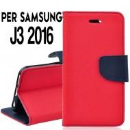 Custodia Per Samsung J3 2016 cover slim luxury a libro/portafoglio  stand case interno in tpu Rosso / Blu interno