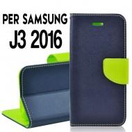 Custodia Per Samsung J3 2016 cover slim luxury a libro/portafoglio  stand case interno in tpu Blu/Verde interno
