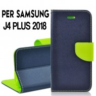 Custodia cover Per Samsung J4 PLUS 2018 Blu-Lime, slim luxury a libro/portafoglio stand case interno in tpu